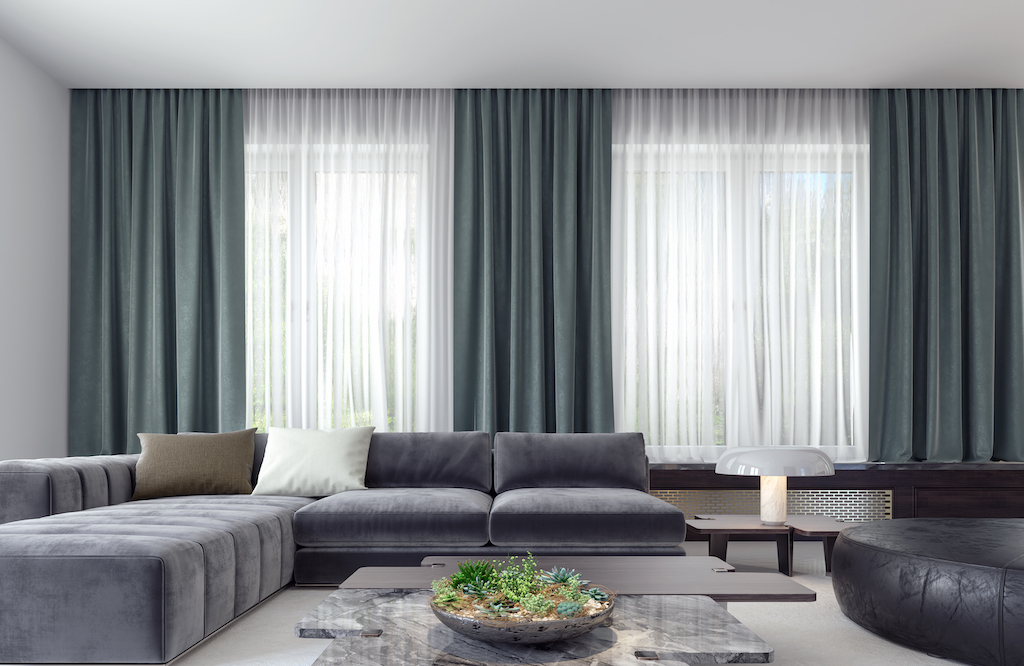 Curtains hanging in a modern living room